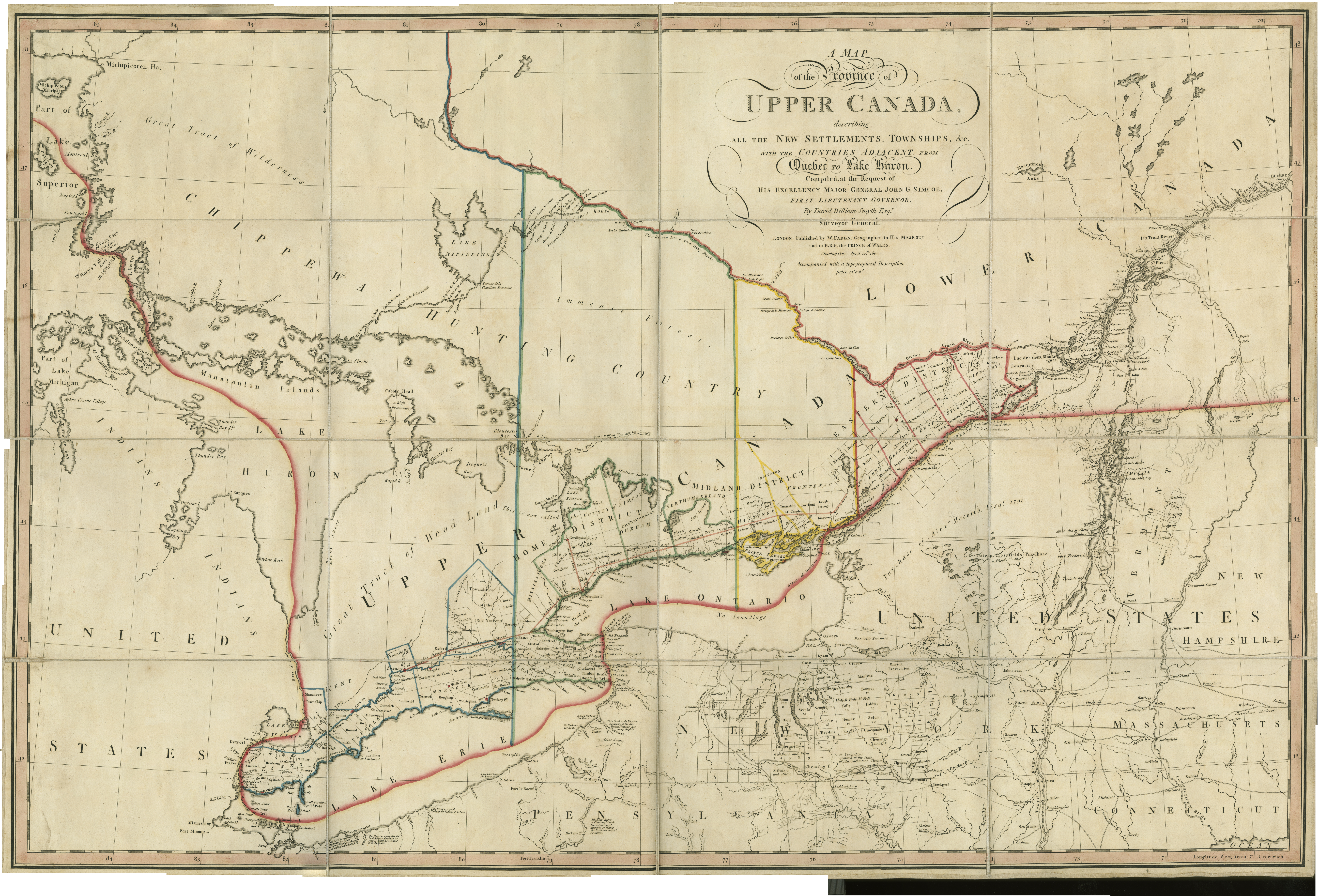 A map of the province of Upper Canada describing all the new